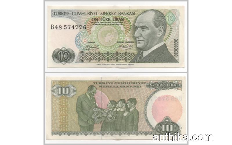 7.Emisyon 1.Tertip Çil 10 Türk Lirası Koleksiyona Eski Para