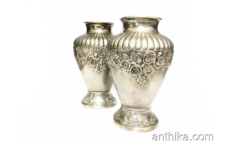 Vintage Antika Vazo 2 Adet Gümüş Kaplama Koleksiyondan