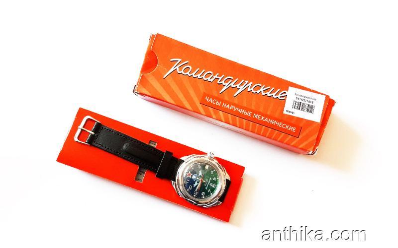 Vintage Vostok Komandirskie Sovyet Rus Kurmalı Kol Saati Nos in Box