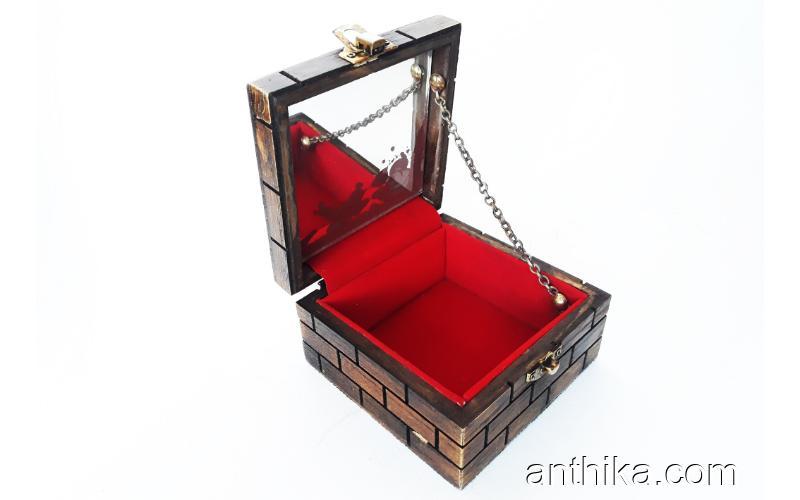 Vintage Antika Takı Mücevher Kutusu Makyaj Kutusu