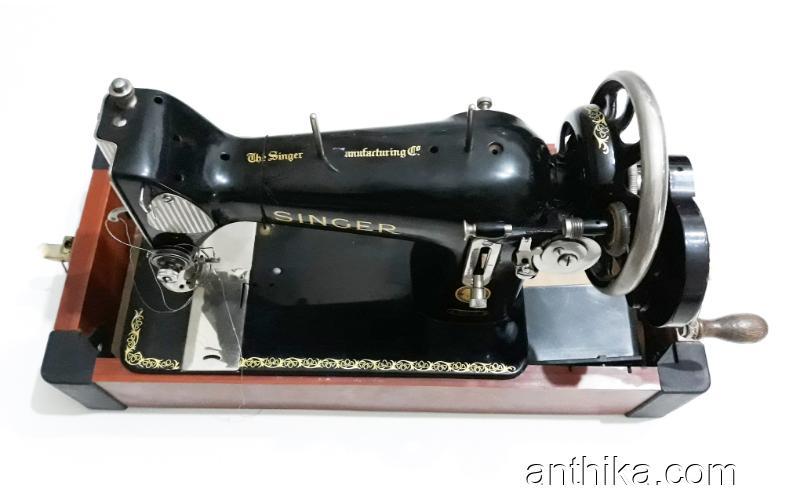 Antika Vintage Singer Kollu Dikiş Makinesi